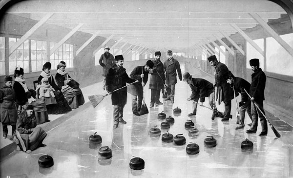 The Earl of Dufferin and a party of guests curling at Rideau Hall.  Date: 1870s.  Photographer: William James Topley. Reference: Library and Archives Canada, PA-008498.