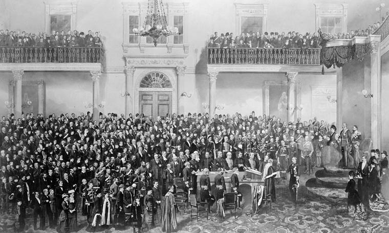 The Marquess of Lorne taking the oath of office at his installation.  Date: 1878. Photographer: William Notman. Reference: Library and Archives Canada, C-000082.