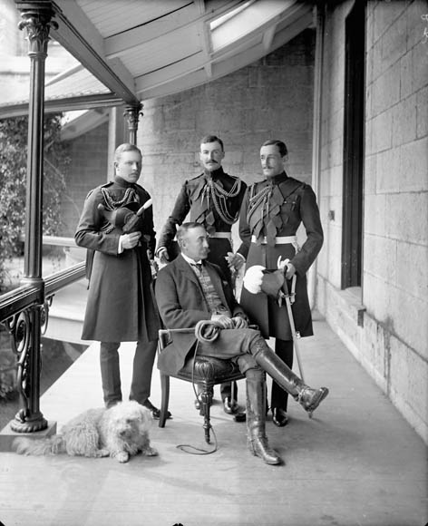 The Earl of Minto, Governor General of Canada (1898-1904), with his aides-de-camp.      Date: May 1899. Photographer: William James Topley. Reference: Library and Archives Canada, PA-028067.