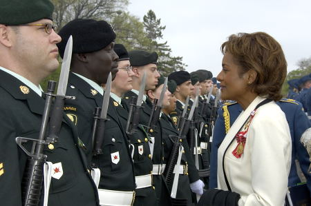 Her Excellency the Right Honourable Michaëlle Jean, Governor General of Canada, reviews the guard of honour during a welcoming ceremony at the Legislative Assembly in Regina, Saskatchewan, on May 8, 2006. The Governor General conducted her first regional visit to Saskatchewan from May 8 to 10, 2006. During her three-day visit, Her Excellency focused on activities that empowered groups of diverse backgrounds, from youth and First Nations to residents of North Central Regina's inner city, to be heard. This was her 8th provincial visit since the beginning of her mandate.