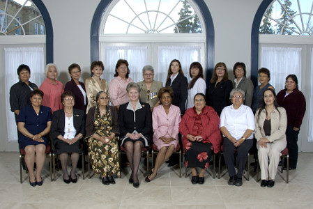 Saskatchewan's women chiefs met with Her Excellency the Right Honourable Michaëlle Jean, Governor General of Canada, and Her Honour the Honourable Dr. Lynda Haverstock, Lieutenant Governor of Saskatchewan, on May 10, 2006, in Regina, during the Governor General's first regional visit to Saskatchewan from May 8 to 10, 2006. During their hour-long meeting, the women chiefs and elders talked with the Governor General about the challenges that they face in their communities and discussed solutions.