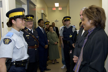 Her Excellency the Right Honourable Michaëlle Jean, Governor General of Canada, met with RCMP cadets and officers during her visit to the RCMP Academy in Regina on May 10, 2006. The Governor General toured the RCMP Buffalo Scenario Village, addressed cadets, visited the historic chapel and laid flowers at the Cenotaph to honour fallen members. The Governor General conducted her first regional visit to Saskatchewan from May 8 to 10, 2006. During her three-day visit, Her Excellency focused on activities that empowered groups of diverse backgrounds, from youth and First Nations to residents of North Central Regina's inner city, to be heard. This was her 8th provincial visit since the beginning of her mandate.