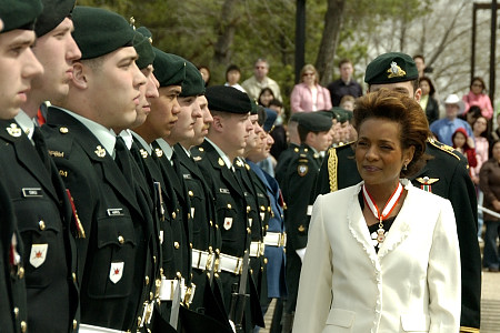 Her Excellency the Right Honourable Michaëlle Jean, Governor General of Canada, reviews the guard of honour during a welcoming ceremony outside the Legislative Assembly in Edmonton, Alberta, on May 4, 2006. The guard of honour included members of the first and third battalions of Princess Patricia's Canadian Light Infantry. The Governor General conducted her first regional visit to Alberta from May 4 to 6, 2006. During her three-day visit, Her Excellency focused on building dialogue and forging links with as many Albertans as possible, including the military and their spouses, school children and youth, as well as community volunteers. This was her 7th provincial visit since the beginning of her mandate.