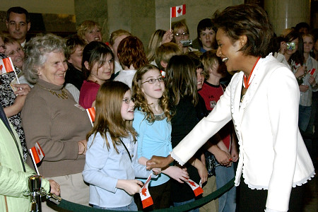 Her Excellency the Right Honourable Michaëlle Jean, Governor General of Canada, takes time to meet people from Alberta at the Legislative Assembly in Edmonton on May 4, 2006. The Governor General conducted her first regional visit to Alberta from May 4 to 6, 2006. During her three-day visit, Her Excellency focused on building dialogue and forging links with as many Albertans as possible, including the military and their spouses, school children and youth, as well as community volunteers. This was her 7th provincial visit since the beginning of her mandate.