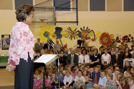 On May 5, 2006, in Millarville, Alberta, Her Excellency the Right Honourable Michaëlle Jean, Governor General of Canada, address students and people from the community at Millarville Community School. She and her daughter then visited some classes as well as the school's archeological dig. At the end of her visit, the Governor General took a group photo with students in the school's playground. The visit to Millarville Community School was in response to 75 personal invitations that the Governor General received from students to visit their school and their community, as well as their archeological dig. In 2005, Ms. Loretta Stabler and Ms. Patti Thorne, teachers at the school, received the Governor General's Award for Excellence in Teaching Canadian History from Governor General Jean. In 2003, Millarville school teacher Pam Irving had also received this award from the Right Honourable Adrienne Clarkson, the former governor general.