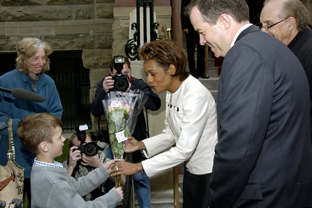 Her Excellency the Right Honourable Michaëlle Jean, Governor General of Canada,  stops to talk with Maxwell Grundy, a young Calgarian who waited two hours outside Calgary City Hall to meet the Governor General on May 6, 2006. The Governor General conducted her first regional visit to Alberta from May 4 to 6, 2006. During her three-day visit, Her Excellency focused on building dialogue and forging links with as many Albertans as possible, including the military and their spouses, school children and youth, as well as community volunteers. This was her 7th provincial visit since the beginning of her mandate.