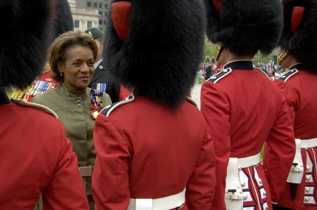 Her Excellency the Right Honourable Michaëlle Jean, Governor General and Commander-in-Chief of Canada, inspected the Ceremonial Guard on June 28, 2006 on the grounds of Parliament Hill in Ottawa. As well as being Commander-in-Chief of the Canadian Forces, Her Excellency is Colonel of both regiments that form the Ceremonial Guard (the Governor General's Foot Guards from Ottawa and the Canadian Grenadier Guards from Montreal). Following the inspection, the Governor General addressed its members.