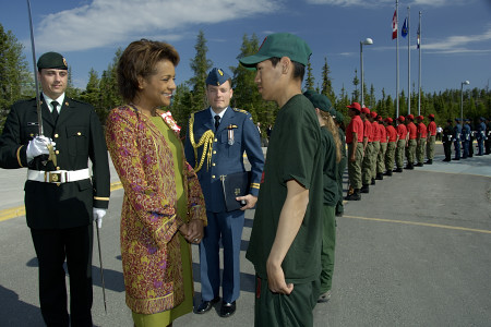 Her Excellency the Right Honourable Michaëlle Jean, Governor General of Canada, reviews the guard of honour comprised of 12 Canadian Rangers and 6 Junior Rangers from across the Northwest Territories during a welcoming ceremony outside the Legislative Assembly in Yellowknife on June 19, 2006. The five-day visit began in Yellowknife with stops in Fort Simpson and in the Nahanni National Park Reserve of Canada.  Meeting with the Aboriginal community, youth and women was at the core of the Governor General's visit to the Northwest Territories. This was her 9th territorial or provincial visit since the beginning of her mandate.