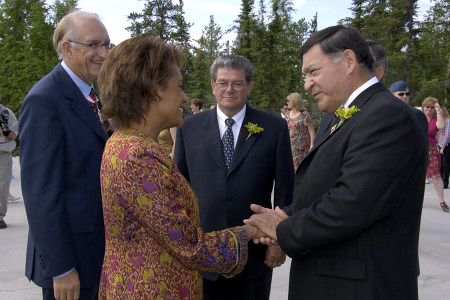 On June 19, 2006, Her Excellency the Right Honourable Michaëlle Jean, Governor General of Canada, is greeted by the Honourable Tony Whitford, Commissioner of the Northwest Territories and the Honourable Joseph Handley, Premier of the Northwest Territories (middle.) The five-day visit began in Yellowknife with stops in Fort Simpson and in the Nahanni National Park Reserve of Canada.  Meeting with the Aboriginal community, youth and women was at the core of the Governor General's visit to the Northwest Territories. This was her 9th territorial or provincial visit since the beginning of her mandate.