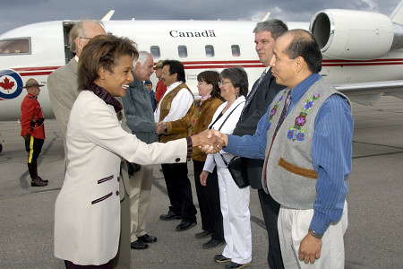 The Governor General and His Excellency Jean-Daniel Lafond were greeted by the Dehcho First Nations Grand Chief, the Liidlii Kue First Nations Chief, Fort Simpson Métis Nation President Marie Lafferty, MLA Kevin Menicoche, and the Mayor of Fort Simpson, His Worship Duncan Canvin, when they arrived in Fort Simpson, Northwest Territories, on June 21, 2006.   Their Excellencies celebrated National Aboriginal Day in Fort Simpson.  During their time in the community, they took part in a fire ceremony, a tour of the town, a meeting with local leaders, elders and first nations groups, as well as a community feast.