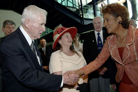 <p>Their Excellencies the Right Honourable Michaëlle Jean, Governor General of Canada, and Jean-Daniel Lafond, with their daughter Marie-Éden, conducted their first official visit to Newfoundland and Labrador from July 6 to 11, 2006.</p>