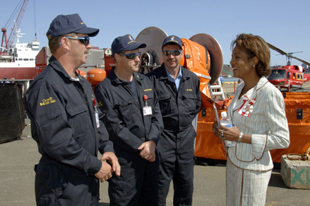 <p>Their Excellencies and their daughter Marie-Éden then travelled from St. John's to Trinity on board the Georges R. Pearks, a Canadian Coast Guard search and rescue ship, and by helicopter, and witnessed first-hand two aspects of the Canadian Coast Guard's work.</p>
