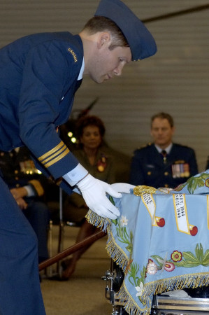 Dedication and consecration of the new stand of colours of the Air Force's 412 Transport Squadron<br>Canada Aviation Museum, Ottawa