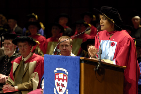 Governor General  receives honorary doctorate of Letters from McGill University in Montreal