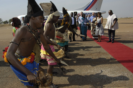 Traditional welcoming ceremony (Tamale Airport)