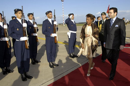Governor General is greeted by His Royal Highness Prince Moulay Rachid upon her arrival in Rabat