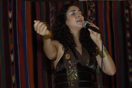 Algerian singer Lynda Thalie performs during an evening with staff and family at the Canadian embassy (Algiers)