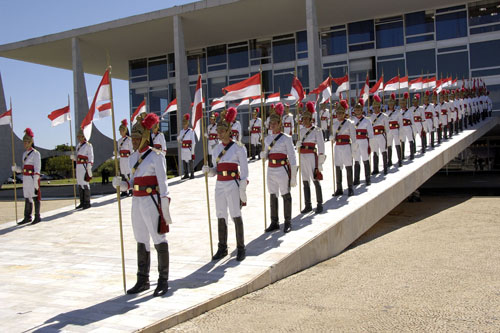 The Official Welcoming Ceremony on the grounds of the Palácio do Planalto in Brasília.