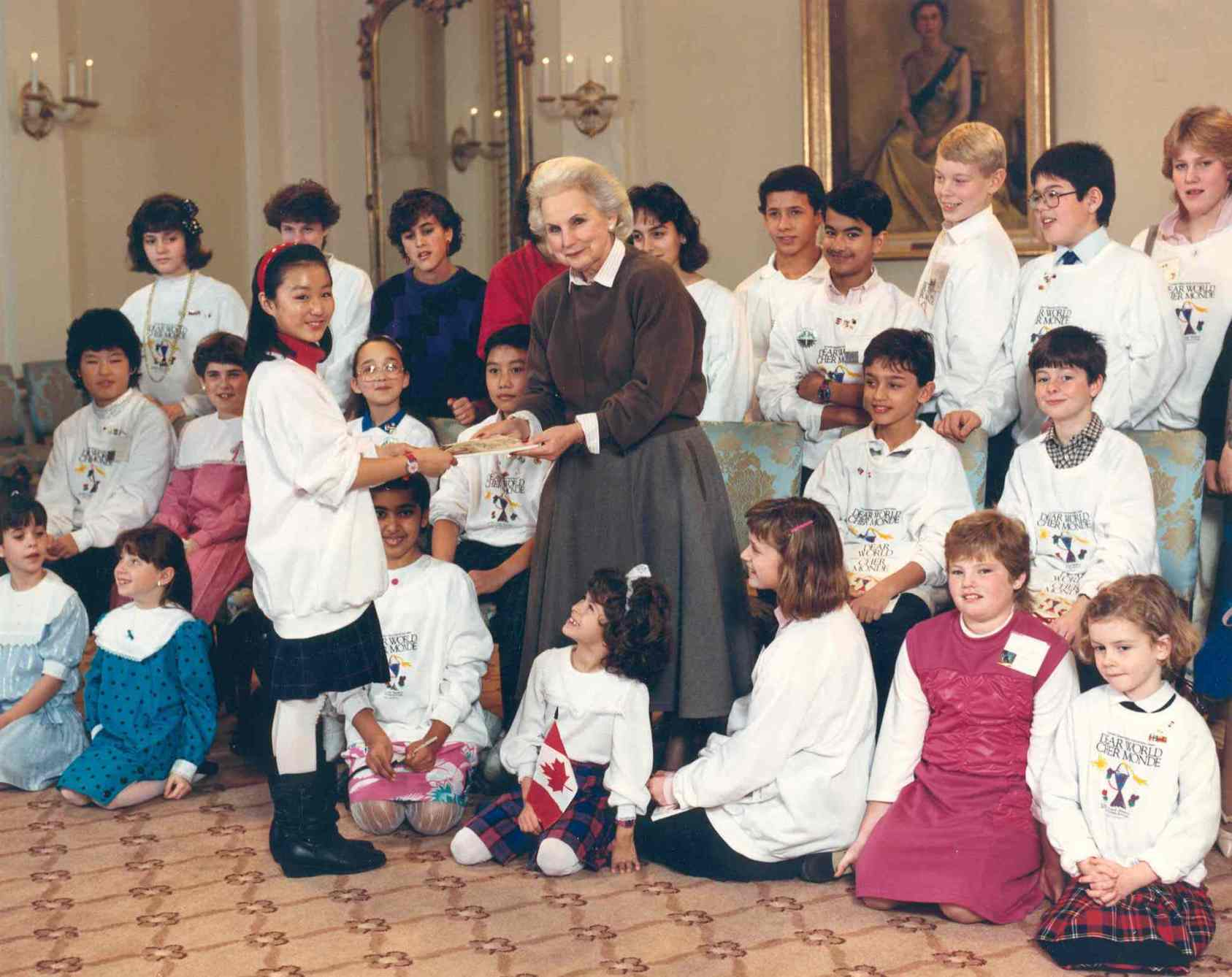 "Governor General Jeanne Sauvé hosts participants in the children's project ""Dear World"" at Rideau Hall.  Date: November 27, 1986. Photographer: Sgt Raynald Kolly, Rideau Hall.   Reference: GGC86-950."