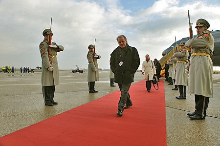 Official welcoming ceremony with military honours.  Mr. Jack Jedwab, a member of the accompanying delegation arrive in Slovakia.
