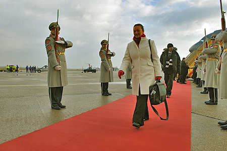 Official welcoming ceremony with military honours.  Delegate Fanny Wylde walks past the guard of honour.