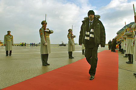Official welcoming ceremony with military honours.  Delegate Jordan Croucher of Halifax, Nova Sotia arrives in Slovakia.