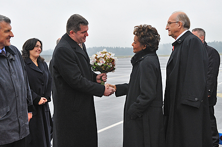 Their Excellencies upon arrival in the Republic of Slovenia are greet by the His Excellency Tomaž Kunstelj, Ambassador of Slovenia to Canada.