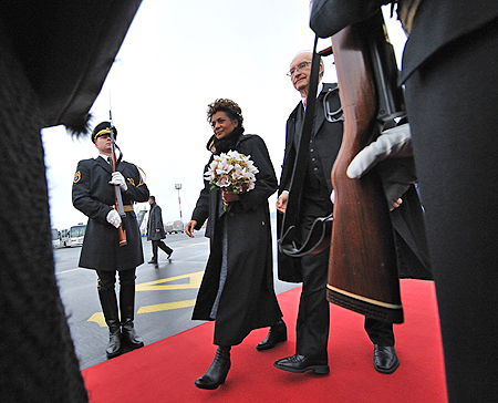Their Excellencies arrive in the Republic of Slovenia.