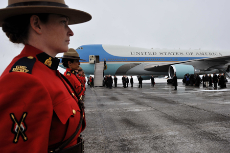 Royal Canadian Mounted Police officers lined the walk from the aircraft to the meeting room.