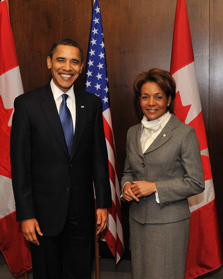 The Honourable Barack H. Obama, President of the United States of America, and Her Excellency the Right Honourable Michaëlle Jean, Governor General of Canada.