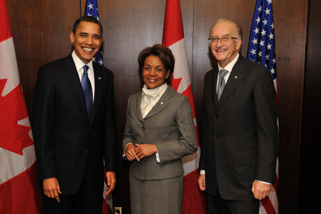 The Honourable Barack H. Obama, President of the United States of America, and Their Excellencies the Right Honourable Michaëlle Jean, Governor General of Canada, and Jean-Daniel Lafond.