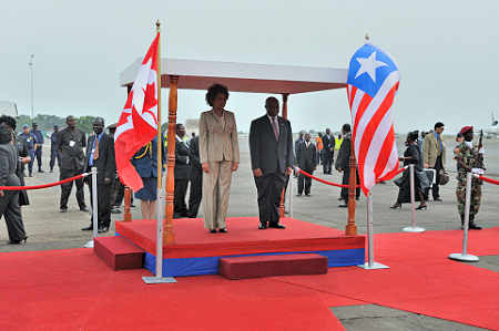 In the presence of the Vice-President of the Republic of Liberia, the Governor General was officially welcomed during a ceremony with military honours.