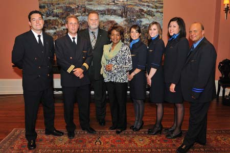 Her Excellency the Right Honourable Michaëlle Jean, Governor General of Canada, welcomed the crew of CanJet Flight 918 to Rideau Hall on June 15, 2009.