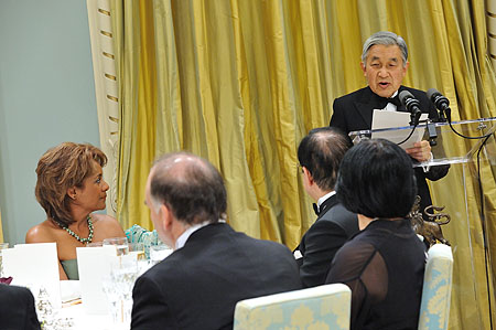 The Emperor of Japan delivered a speech on the occasion of the State Dinner, at Rideau Hall in which he stated:     