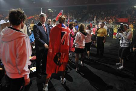 The Prime Minister of Canada, the Right Honorable Stephen Harper, attended the opening of the 2009 Canada Games and celebrated Canadian athletes taking part in the largest Canadian sporting event leading up to the 2010 Vancouver Olympics.
