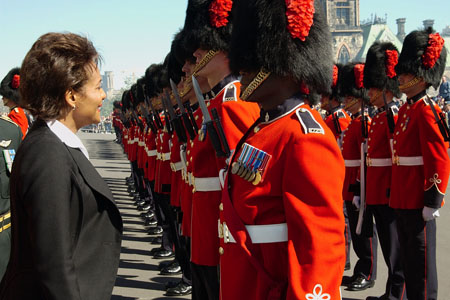 Her Excellency the Right Honourable Michaëlle Jean, Governor General and Commander-in-Chief of Canada, inspects the Guard of Honour prior to her departure from Parliament Hill.
