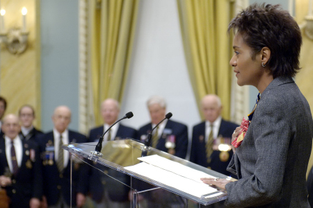 Her Excellency the Right Honourable Michaëlle Jean, Governor General and Commander-in-Chief of Canada and patron of the Royal Canadian Legion, speaks to Veterans during the launch of the 2005 Poppy & Remembrance campaign on Tuesday, October 25, 2005, at Rideau Hall.
