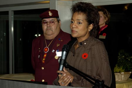 Her Excellency, The Right Honourable Michaëlle Jean, Governor General and Commander-in-Chief of Canada, speaks at a dinner with the Aboriginal Veterans Delegation of the Spiritual Journey in Touques, France on October 29th, 2005.