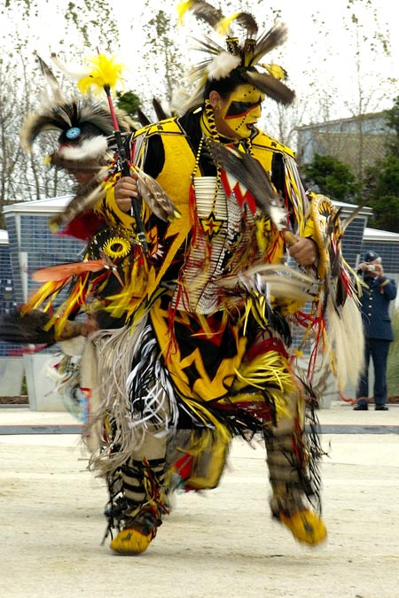 Lorin Gardypie performing a traditional First Nations dance during the unveiling of the inuksuk at the Juno Beach Centre in Normandy, France, on October 30 2005.
