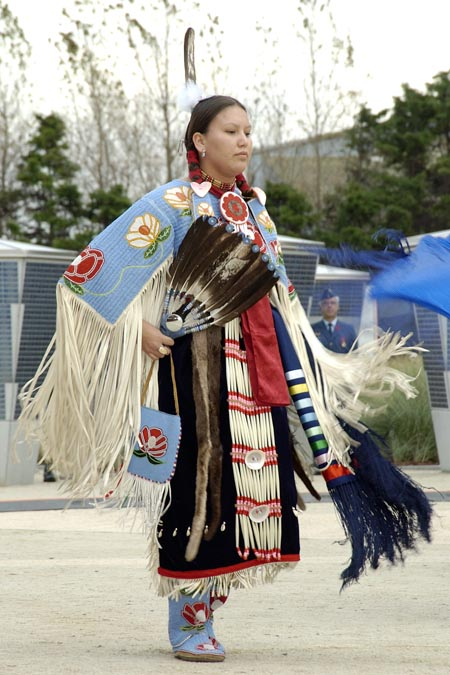 Peggy Lee performing a traditional First Nations dance during the unveiling of the inuksuk at the Juno Beach Centre in Normandy, France, on October 30 2005.