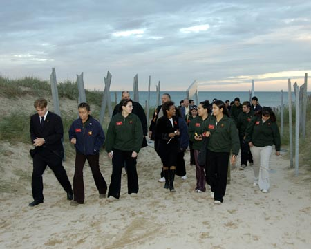 Her Excellency, The Right Honourable Michaëlle Jean, Governor General and Commander-in-Chief of Canada visits the Juno Beach Centre on October 29th, 2005, in Normandy, France. The Governor General was accompanied by the Aboriginal Youth Delegation of the Aboriginal Spiritual Journey.