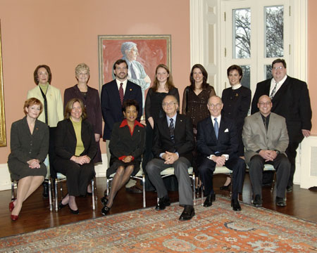 Their Excellencies the Right Honourable Michaëlle Jean, Governor General of Canada, and Mr. Jean Daniel Lafond pose with the recipients of the Governor General's Awards for Excellence in Teaching Canadian History, at Rideau Hall, on November 29, 2005.