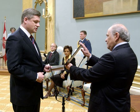 The Right Honourable Stephen Harper being sworn in as Canada's 22nd Prime Minister, at Rideau Hall on February 6, 2006.