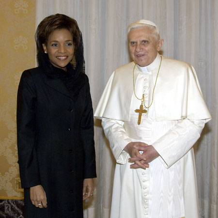 The Right Honourable Michaëlle Jean, Governor General of Canada, had a private audience with His Holiness Benedict XVI on February 27, 2006 at the papal library, Apostolic Palace, Holy See.