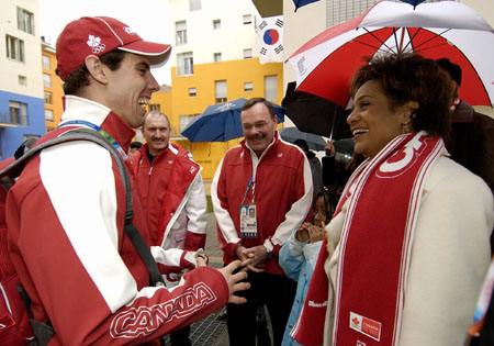 Her Excellency the Right Honourable Michaëlle Jean, Governor General of Canada, and His Excellency Jean-Daniel Lafond traveled to Torino in Italy to attend the closing ceremonies of the 2006 Olympic Winter Games. 