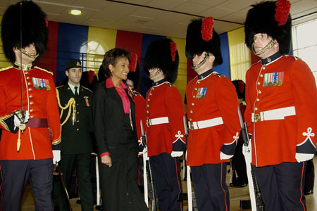 Her Excellency the Right Honourable Michaëlle Jean, Governor General of Canada, inspects the guard of honour upon her arrival at the Citadelle in Quebec City on February 8, 2006. The guard of honour is composed of 100 members of the operational forces of the 2nd Battalion of the Royal 22e Régiment.