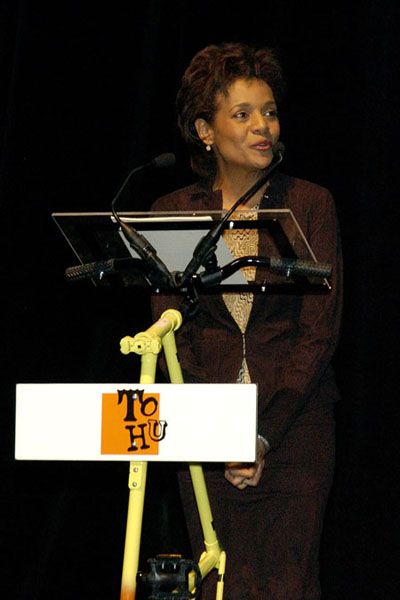 "Their Excellencies the Right Honourable Michaëlle Jean, Governor General of Canada, and Mr. Jean Daniel Lafond Participate in the ""Saint-Michel fait son cinema"" evening at the TOHU, during their official visit to Montreal on February 10, 2006."