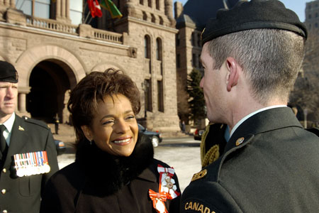 Her Excellency the Right Honourable Michaëlle Jean, Governor General of Canada, inspects the guard of honour during her arrival at the Ontario Legislative Building on February 20, 2006. The honour guard is comprised of 100 soldiers from the Royal Canadian Dragoons. The Governor General's Horse Guards Cavalry Squadron was also present.