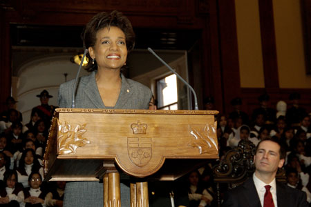 Her Excellency the Right Honourable Michaëlle Jean, Governor General of Canada, during her speech at the welcoming ceremony at the Ontario Legislative Building at Queen's Park, Toronto, on February 20, 2006.