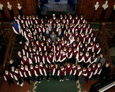 Her Excellency the Right Honourable Michaëlle Jean, Governor General of Canada, poses with the Valley Park Middle School Choir during her visit to the Ontario Legislative Building at Queen's Park, Toronto, on February 20, 2006.